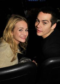 Dylan O Brian and Britt Robertson in the auditorium